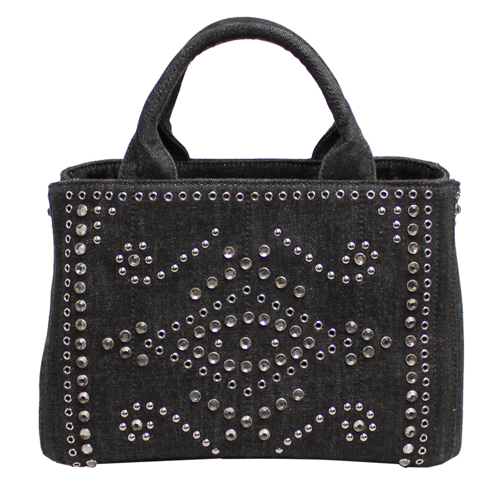 buy prada cahier studded leather bag 7fa7b 35b7d  greece prada canapa tote  bag black denim series studded with shoulder strap bn2439 denim nero 307fc 895d277c9dec4