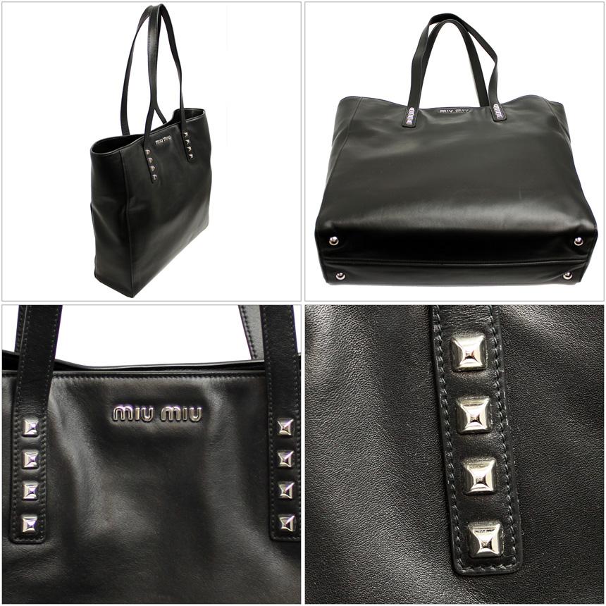 插座 Miu Miu 手提包黑色皮革 RR1914