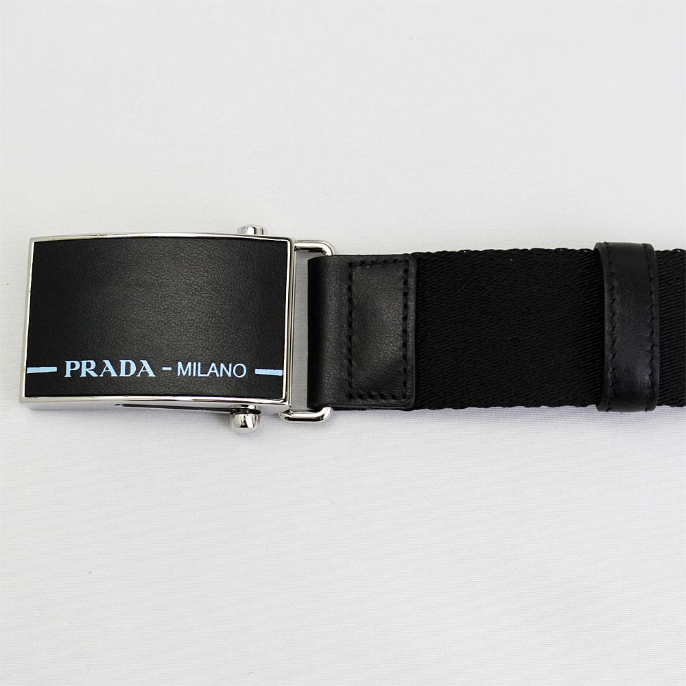プラダ ベルト メンズ 2CN032 PRADA ナイロンベルト ロゴバックル 34インチ 85cm ブラック 2CN032 BN3 F0002D2IEH9