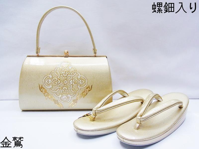 螺鈿が輝く《草履バッグセット》合成皮革に金砂子、螺鈿の礼装用