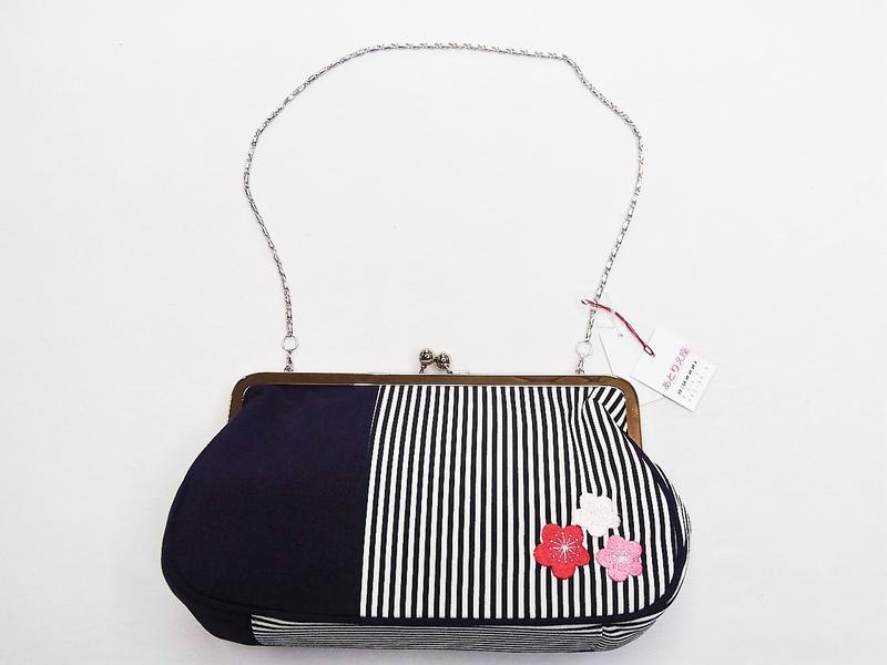 縮緬地に梅の刺繍《あとりえ座 バッグ単品》(#30000-P)「日本製」