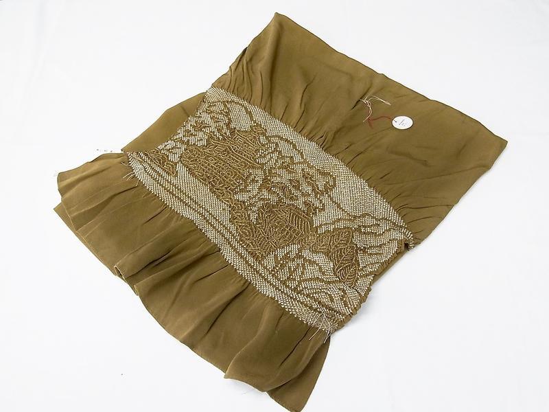 しなやかな手触りの《男性用正絹兵児帯》鶯茶:絞り入り(#48000-006)「日本製」