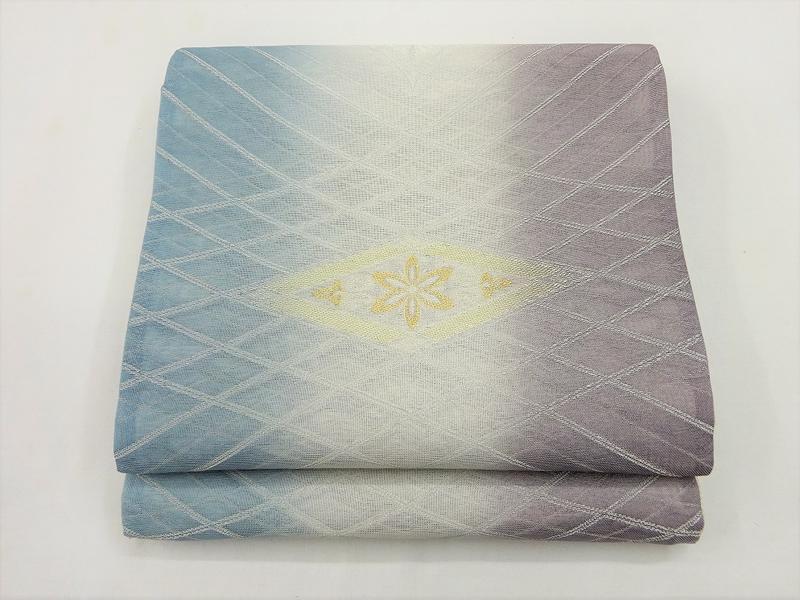 自身を持ってお勧めします!涼しげな《正絹夏袋帯》藍鼠・白鼠・葡萄鼠の染分け(#320000-002)「日本製」