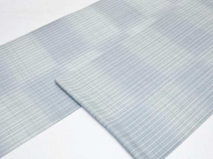 涼しげな夏着尺《正絹絽小紋》青鼠・白・ワサビ色の縦縞の縦絽(#140000-004)