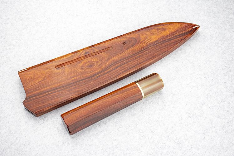 包丁 ハンドル 柄 白水牛 紅壇 牛刀 210 銀輪一つ ハンドル鞘セット