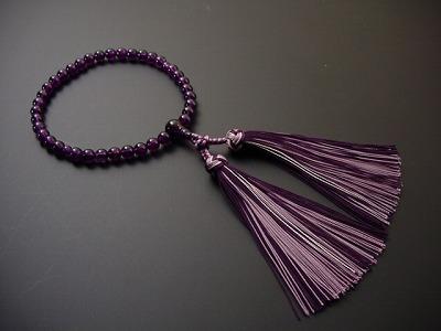 女性用略式数珠 7ミリ 総紫水晶 花かがり正絹房