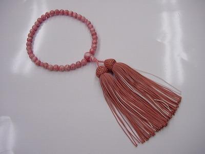 女性用略式数珠 7ミリ 総インカローズ 正絹頭付房