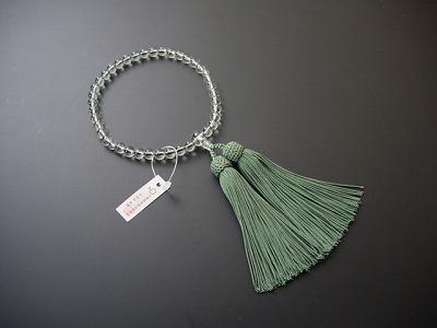 女性用略式数珠 7ミリ 総グリーンアメジスト 正絹頭付房
