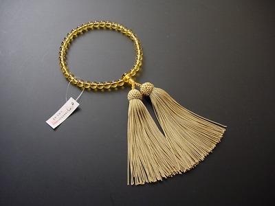 数珠 女性用 総黄水晶 正絹頭付き房