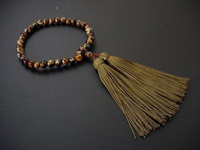 女性用略式数珠 虎琥珀 正絹頭付き房