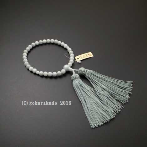 女性用略式数珠 8ミリ 総ビルマ翡翠(ひすい) 正絹頭付房