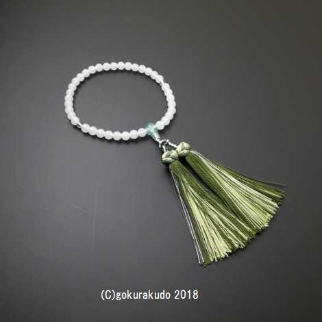 数珠 女性用 主玉ホワイトオニキス7mm玉 緑蛍石仕立 花かがり正絹房