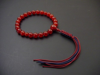 男性用略式数珠 22珠 総メノウ(上)正絹紐房