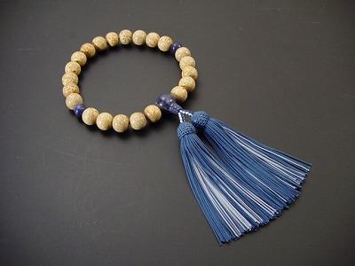数珠 男性用 星月菩提樹22玉 ソーダライト入 正絹頭付房