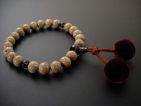 数珠 男性用 星月菩提樹22玉 茶水晶入梵天房