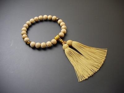 数珠 男性用 星月菩提樹22玉 虎目入 黄土色正絹頭付房