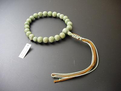 男性用略式数珠22珠 総独山玉 正絹2色紐房
