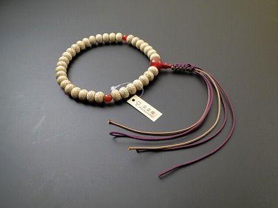 男性用略式数珠 星月菩提樹 蜜柑35玉 メノウ入 正絹紐房