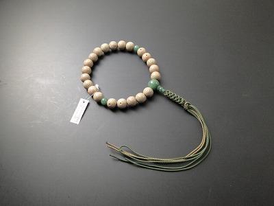 数珠 男性用 星月菩提樹 22玉 翡翠(アベン)入 正絹2色紐房6本組