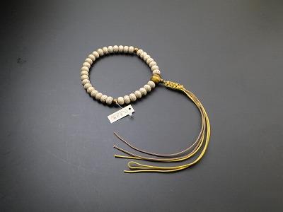 男性用略式数珠 星月菩提樹 蜜柑35玉 虎目石入 正絹紐房
