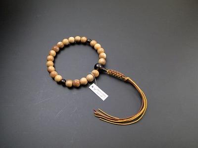 男性用略式数珠22珠 白檀 茶水晶入 正絹2色紐房