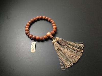 男性用略式数珠 22珠 総白檀 正絹頭付房