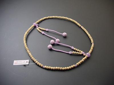 数珠 真言宗用 星月菩提樹 藤雲石いり 8寸 藤色利休房