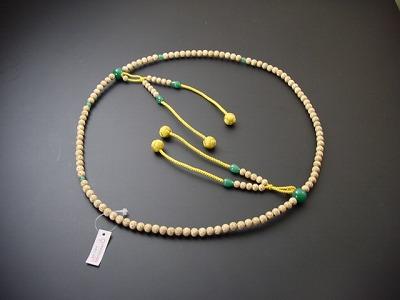 数珠 真言宗用 星月菩提樹 翡翠いり 尺2 金茶利休房