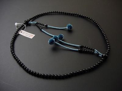 真言宗用本連(正式)数珠 ブラックオニキス 8寸 正絹菊房