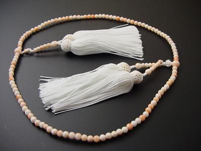 真言宗用本連(正式)数珠 総珊瑚(D) 8寸 正絹白頭房