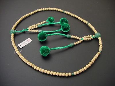 日蓮宗用本連数珠 星月菩提樹 尺 菊房 翡翠いり