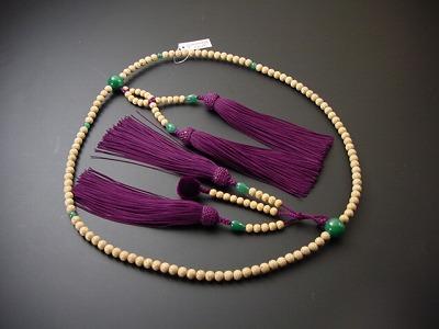 数珠 日蓮宗用 星月菩提樹 尺2 人絹装束紫紺房 翡翠入