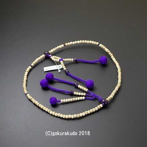 数珠 日蓮宗 星月菩提樹 8寸(親・四天・つゆ)紫水晶 利休房紫色