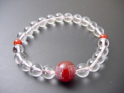 数珠ブレス 水晶8mm玉 般若心経彫メノウ仕立 ピンクゴム通し