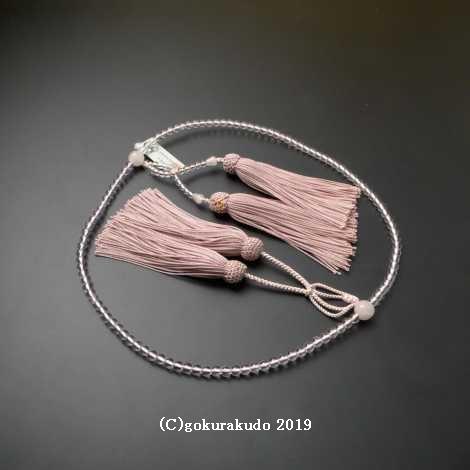 数珠 浄土真宗 8寸 主玉水晶、(親・四天・つゆ)ローズクオーツ 正絹房