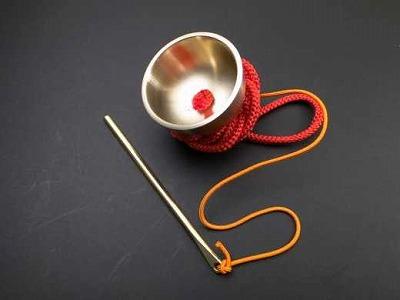 りん/超小型さはり印金(袖印金) 朱紐(携帯用のお輪)正絹組紐付き