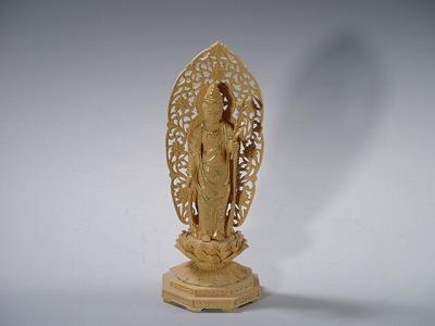 仏像 聖観音菩薩 総かや製 3寸