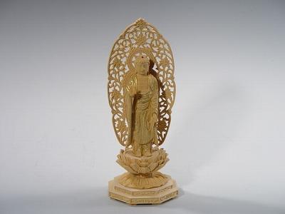 仏像 阿弥陀如来(立像) 総かや製 3寸