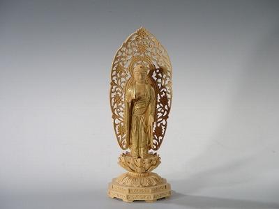 仏像 阿弥陀如来 総かや製 3.5寸