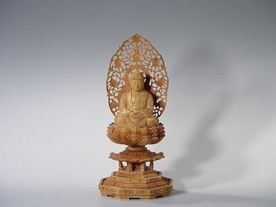 仏像 釈迦如来座像 総白檀製 2寸