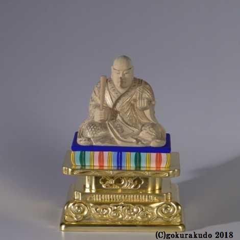 日蓮聖人像 2寸 檜 金箔台座(国産)