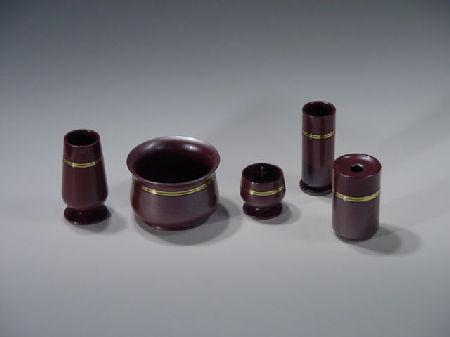 (花立や蝋燭立のセット)『夢幻(むげん)』(5点セット)梅紫色 帯金付き