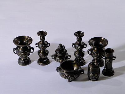 (花立や蝋燭立のセット)/山茶花型 3.5寸 8具足