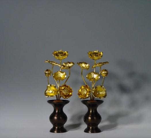 常花 蓮の花 アルミ製 金色 7本立て 品質検査済 ディスカウント 4号