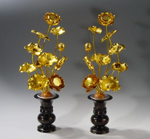 常花・蓮の花/アルミ製 金色 7号 11本立て