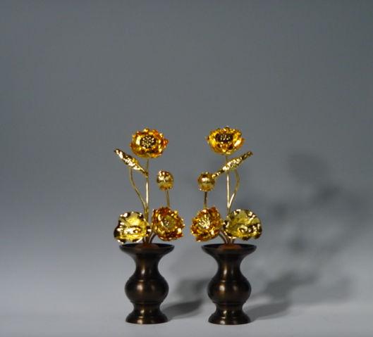 常花・蓮の花/真鍮製 本金メッキ 4号 5本立て