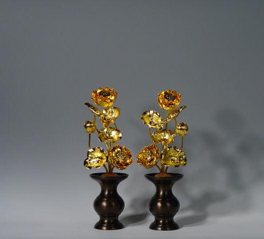 常花 蓮の花 [宅送] 真鍮製 4号 7本立て 本金メッキ 定番