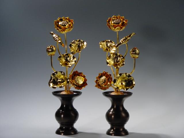 常花・蓮の花/真鍮製 本金メッキ 5号 7本立て