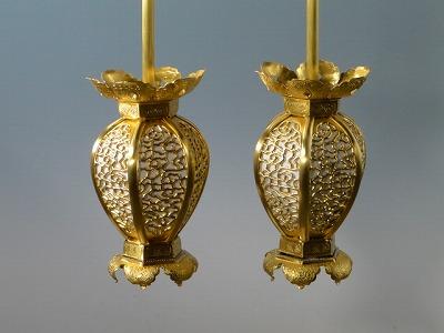 釣り(吊り)灯籠/銅地インゲン型釣り灯籠 中型(本金消しメッキ)