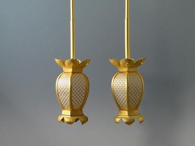 釣り(吊り)灯籠/真鍮製インゲン型釣り灯籠 小型(消し金メッキ)